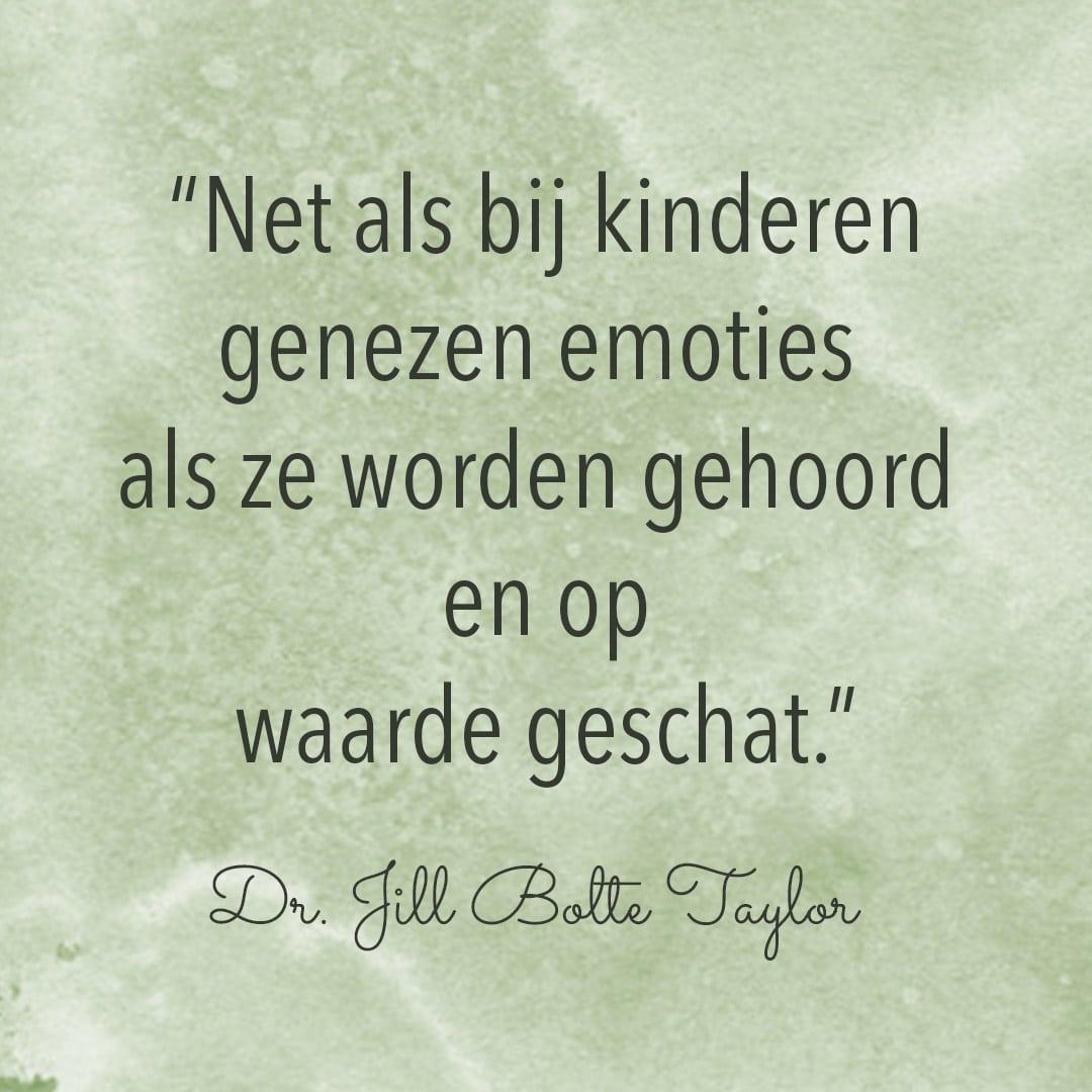Net als bij kinderen genezen emoties, als ze worden gehoord en op waarde geschat